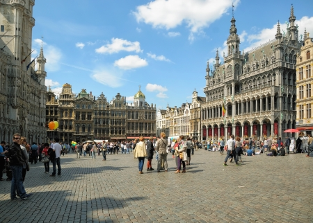 BRUSSELS, BELGIUM-MAY 5 Tourists crowded Grand Place during annual Day of Iris - Fete de l