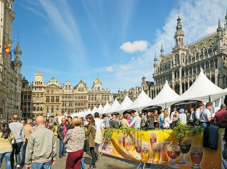 BRUSSELS, BELGIUM-SEPTEMBER 1  Annual Belgian Beer Weekend dedicated to Belgian beers started on Grand Place on September 1, 2012 in Brussels, Belgium  In Belgium exists more than 450 different brews  Editorial