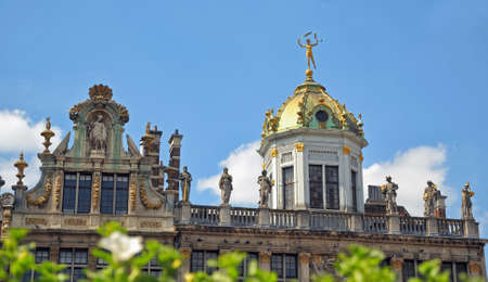 Guild houses on Grand Place in Brussels, Belgium in clear day with blurred green leaves on front