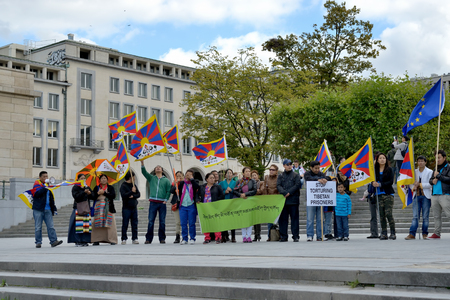 BRUSSELS, BELGIUM - SEPTEMBER, 15: Activists of Tibetan Community demonstrate for freedom of Tibet on Place de lAlbertine on September 15, 2013 in Brussels.  Editorial