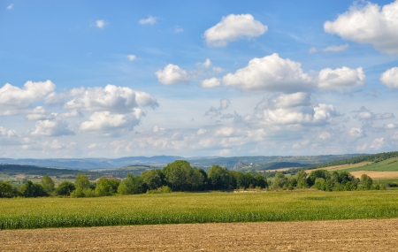 Rural landscape in Auvergne region of France near Massiac in beginning of autumn Stock Photo