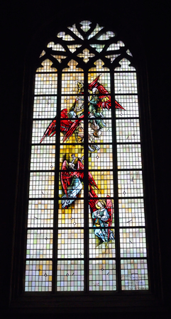 ENGHIEN, BELGIUM-NOVEMBER 2: Stained glass window in Saint-Nicolas parish church on November 2, 2013 in Enghien, Belgium. The church was built in 14-15 centuries and new vitrages in 1964.