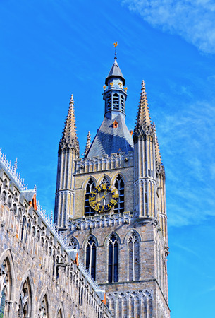 ypres: Angle view of Ypres Cloth Hall in a bright day Stock Photo