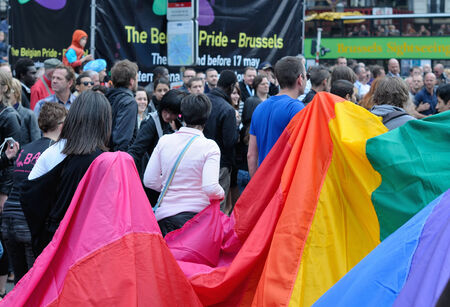 defile: BRUSSELS, BELGIUM-MAY 15, 2010: Activists of Gay Pride Parade participate in annual defile with rainbow flag