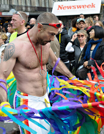 BRUSSELS, BELGIUM-MAY 15, 2010: Participant of Gay Pride Parade in annual defile