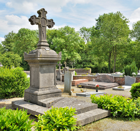 wallonie: Village cemetery of 19 century in Belgium in summer day Stock Photo
