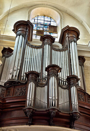 NAMUR, BELGIUM-JUNE 6, 2014  Classic organ in church of Notre-Dame  The first church on this place was built between 1749 and 1753