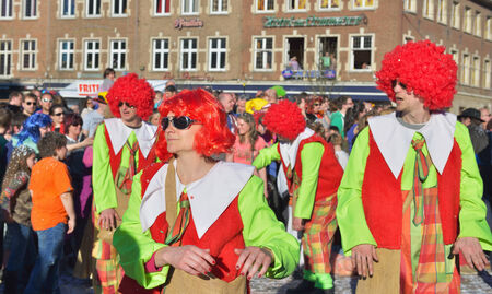 defile: NIVELLES, BELGIUM-MARCH 09, 2014  Unidentified participants show composition during annual carnival defile on central square   Editorial