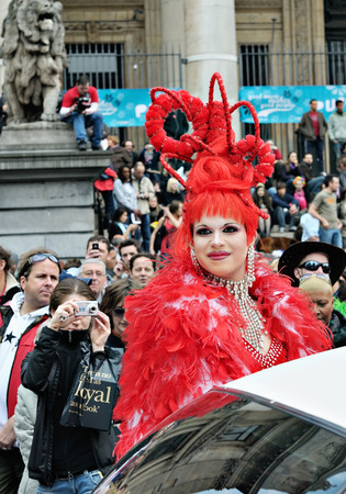 defile: BRUSSELS, BELGIUM-MAY 15, 2010: Participant of Gay Pride Parade in annual defile  Editorial