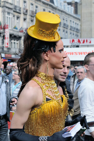 defile: BRUSSELS, BELGIUM-MAY 15, 2010: Participant of Gay Pride Parade in annual defile
