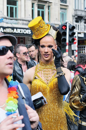 defile: BRUSSELS, BELGIUM-MAY 15, 2010: Unknown activist of Gay Pride Parade participates in annual defile.