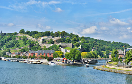 walloon: NAMUR, BELGIUM-JUNE 01, 2014: Panoramic view of Namur with installations for tourist activities close to medieval citadel Editorial