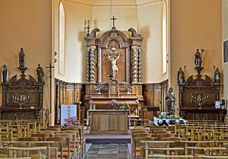 PETIT-ROEULX-LEZ-BRAINE, BELGIUM-JUNE 30, 2014: Interior of Saint Jean-Baptiste Parish church, commune Braine-le-Comte in Walloon.