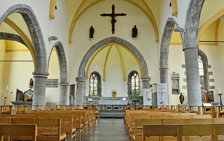 walloon: RONQUIERES, BELGIUM-JUNE 30, 2014: Interior of Saint Gery church, commune Braine-le-Comte, province Hainaut in Walloon