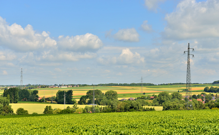 wallonie: Typical industrial agricultural landscape of Walloon, Belgium in summer Stock Photo