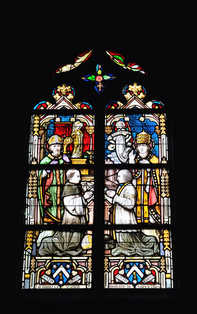 BRAINE-LE-COMTE, BELGIUM-JUNE 30, 2014: Stained glass window in church of Saint Gery. Editorial