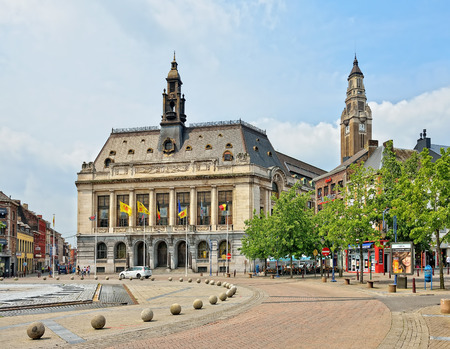 CHARLEROI, BELGIUM-JULY 22, 2014: Center of Charleroi and the city hall. The city and its region are the ones from mostly affected by crisis of last years parts of the country