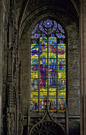 LILLE, FRANCE-APRIL 5, 2014: Stained glass window in Saint Maurice church in historical center of LIlle