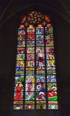 LILLE, FRANCE-APRIL 5, 2014: Stained glass window in Saint Maurice church in historical center of LIlle.