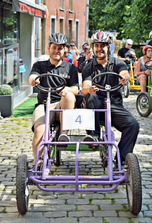 HALLE, BELGIUM-AUGUST 03, 2014  Unidentified participants preparing to start in fifth Gocarts race in historical center of city