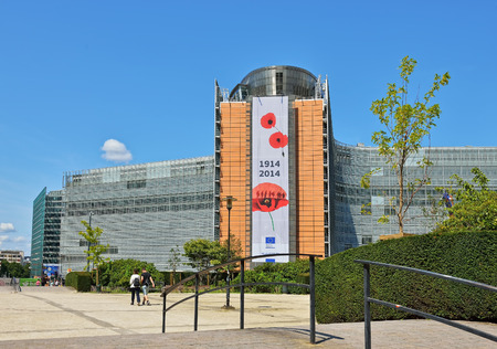 headquarter: BRUSSELS, BELGIUM-AUGUST 05, 2014: European Commission headquarter the Berlaymont building decorated to commemorate 100 years of World War of 1914-1918. Editorial