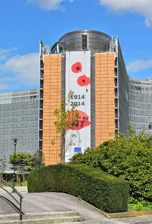 BRUSSELS, BELGIUM-AUGUST 18, 2014: European Commission headquarter the Berlaymont building decorated to commemorate 100 years of World War of 1914-1918.