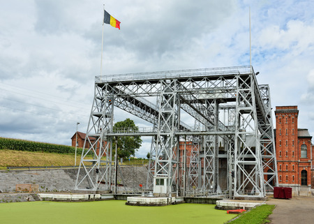 boat lift: Hydraulic boat Lift Number 1 of Louviere in Houdeng-Goegnies Stock Photo