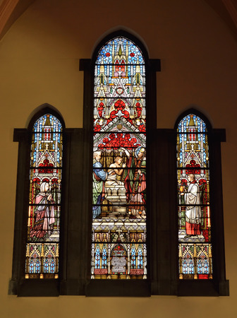 reportage: HOUDENG-GOEGNIES, BELGIUM-AUGUST 22, 2014: Stained glass window in Saint-Gery Church
