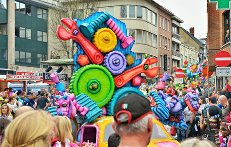 defile: HALLE, BELGIUM-MARCH 30, 2014: Defile of decorated cars and people in fancy dresses during yearly Carnival of Halle.  Editorial