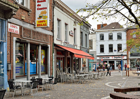 reportage: LA LOUVIERE, BELGIUM-AUGUST 22, 2014: Square Jules Mansart is a pedestrian area in center of the city with restaurants and shops