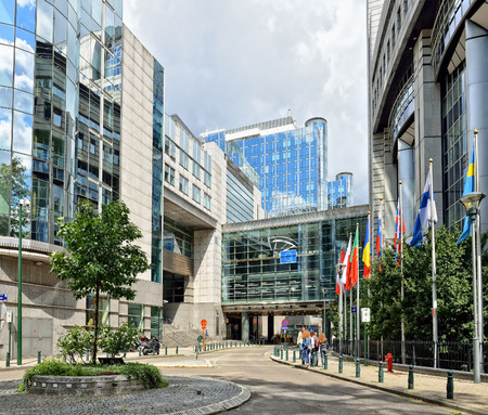BRUSSELS, BELGIUM-AUGUST 18, 2014: Modern building of European Parliament. Construction started in 1989 and then the building was enlarged in 2008