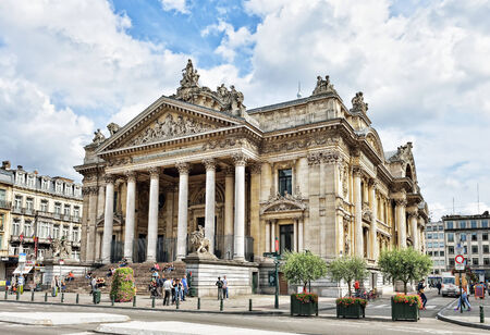 manifestations: BRUSSELS, BELGIUM-AUGUST 29, 2014: Place de la Bourse or Beursplein crowded by tourists. This square is a favorite place for manifestations in historical center of the city Editorial