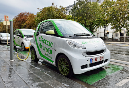 BRUSSELS, BELGIUM-AUGUST 20, 2014: Auto of Zen Car Electric Drive are the first in Brussels electric cars for hire in center of the city