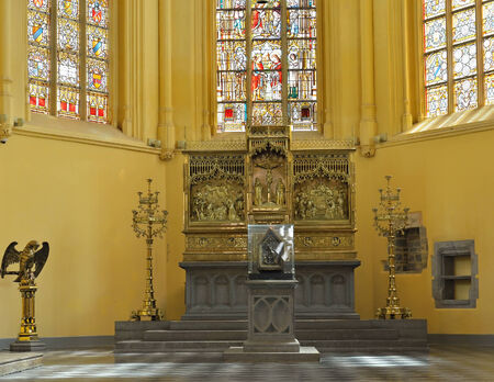 VISE, BELGIUM-JULY 07, 2014: Interior of Collegiale Saint-Martin and Saint-Hadelin or church of Saint-Martin of Vise. The history of the church starts from 1338 Editorial