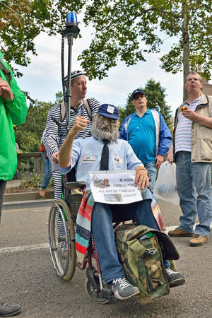 BRUSSELS, BELGIUM-SEPTEMBER 18, 2014: Belgian Police demonstrates against changes in pension regulations