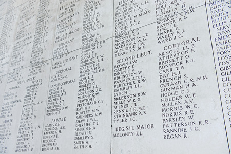 YPRES, BELGIUM-MARCH 2, 2014: Names of war victims on the wall of The Menin Gate Memorial to the Missing