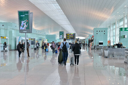 BARCELONA, SPAIN-MARCH 22, 2014: Airport of Barcelona El Prat. More than 35 million passengers used this airport in 2013
