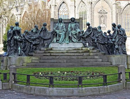Memorial of brothers Hubert and Jan Van Eyck in Ghent, Belgium