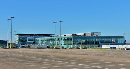 GRACE-HOLLOGNE, BELGIUM-OCTOBER 19, 2014: Airport of Liege or Liege-Bierset. This airport used more than 315000 passengers in 2013 Редакционное