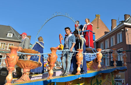 walloon: NIVELLES, BELGIUM-MARCH 09, 2014: Chariot of prince and princess of the carnival during annual defile