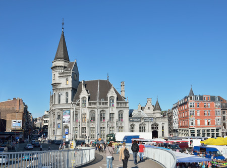 liege: LIEGE, BELGIUM-OCTOBER 19, 2014: Shopping area in center of Liege during Sunday market. Current population of the city is about 200000 persons Editorial