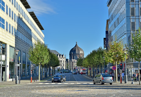 liege: LIEGE, BELGIUM-OCTOBER 19, 2014: Shopping area in center of Liege. Current population of the city is about 200000 persons Editorial