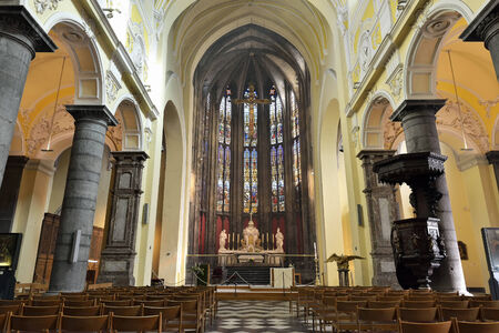 liege: LIEGE, BELGIUM-OCTOBER 19, 2014: Interior details of Collegiate church of Saint-Denis of Liege. The church was founded in 10 century and organ was built in 1589 Editorial
