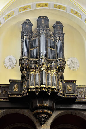 liege: LIEGE, BELGIUM-OCTOBER 19, 2014: Organ in Collegiate church of Saint-Denis of Liege. The church was founded in 10 century and organ was built in 1589 Editorial