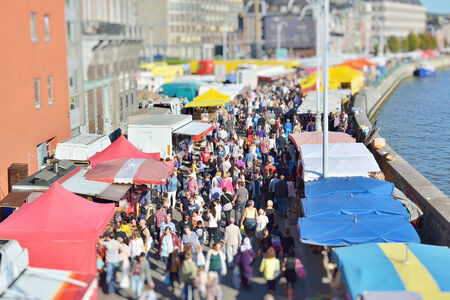 walloon: LIEGE, BELGIUM-OCTOBER 19, 2014: Tilt-shift image of Sunday market in Liege. Current population of the city is about 200000 persons Editorial
