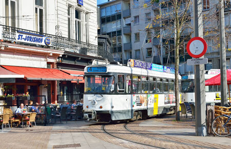 leopold: ANTWERP, BELGIUM-OCTOBER 04, 2014: Tram stops on Leopold Square. With events of commemoration World War I the city accepted about 100000 visitors