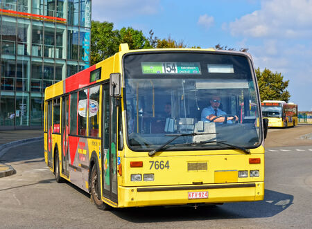 wallonie: CHARLEROI, BELGIUM-OCTOBER 03, 2014: Bus leaving the station near Palais des Beaux-Arts in center of the city. The bus operating company TEC is a public service founded in 1991
