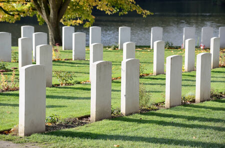 ypres: Ramparts cemetery of Commonwealth War Graves Commission in Ypres, Belgium, with graves of soldiers of First World War 1914-1918