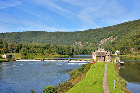 meuse: Dam on Meuse river in Ardennes, France near Fumay in sunny summer day