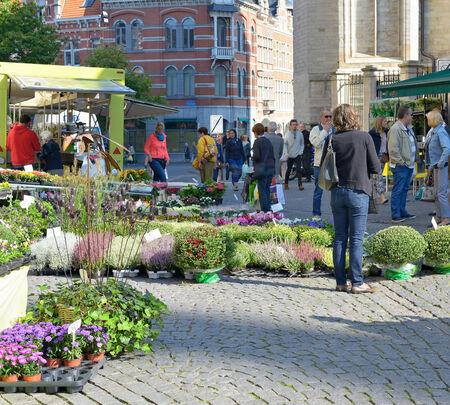 LEUVEN, BELGIÃ‹-12 september 2014: Traditionele openlucht markt in het historische centrum van de stad Redactioneel